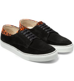 E.R SOULIERS DE SKATE Orange/Black Pony Leopard Suede Model Picutre