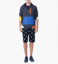 Lemar & Dauley Navy From The Dots Sweatshorts Model Picutre