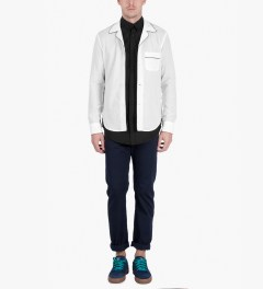 Band of Outsiders White Piped PJ L/S Shirt Model Picutre