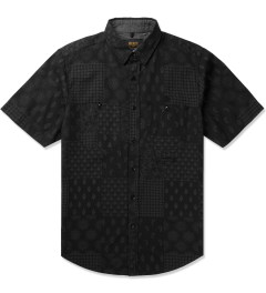 10.Deep Black Bandana Check Button Down S/S Shirt Picutre