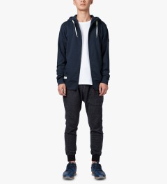 Marshall Artist Navy Melange Zip-Through Hoodie Model Picutre