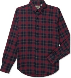 Naked & Famous Red/Navy Shadow Check Slim Shirt Picutre