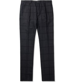 Paul Smith Navy Silk-Blend Slub Trousers Picutre