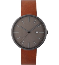 Uniform Wares Gun Grey/Tan Leather 203 Series Calendar Wristwatch Picutre