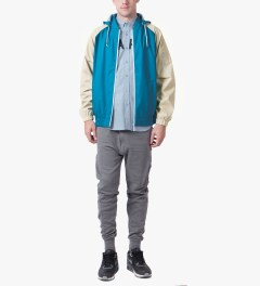 RAINS Sky Blue/Sand Bomber Jacket Model Picutre