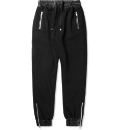 clothsurgeon Black Leather Cuff Sweatpants Picutre