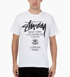 Stussy White World Tour T-Shirt Model Picutre