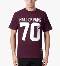 Hall of Fame Burgundy 70's T-Shirt Model Picutre