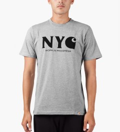 Carhartt WORK IN PROGRESS Heather Grey/Black S/S New York T-Shirt Model Picutre