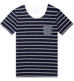 Shades of Grey by Micah Cohen Sailor Stripe/White Low Crewneck T-Shirt Picutre
