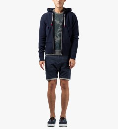 Commune De Paris Navy Louvre Zip Hoodie Model Picutre
