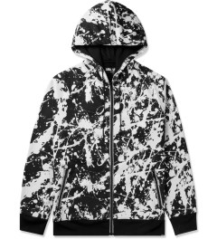 AURA GOLD Black Neoprene Splatter Zip-Up Hoodie Picutre