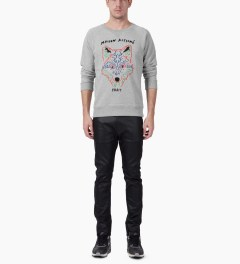 Maison Kitsune Grey Melange 3D Fox Crewneck Sweater Model Picutre