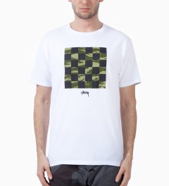 Stussy White/Tiger Camo Check T-Shirt Model Picutre
