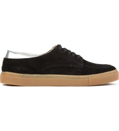 E.R SOULIERS DE SKATE Black Metal Leather Suede Picutre