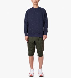 CLOT Blue/Grey Tonal Panel Shorts Model Picutre