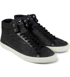 VEJA Black Esplar High Top Leather Shoes Model Picutre