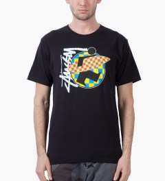 Stussy Black Surfman Check T-Shirt Model Picutre
