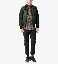 Christopher Raeburn Olive/Black Quilted Bomber Jacket Model Picutre