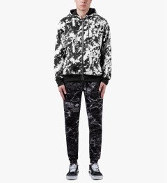 AURA GOLD Black Neoprene Splatter Zip-Up Hoodie Model Picutre