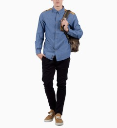 Grand Scheme Blue Sahara Trim L/S Shirt Model Picutre
