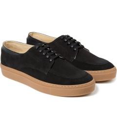 E.R SOULIERS DE SKATE Black Croco/Black Suede Shoes Model Picutre