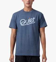 The Quiet Life Blue Heather Quiet Script T-Shirt Model Picutre