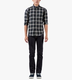 Naked & Famous Navy/Cream Shadow Check Slim Shirt Model Picutre