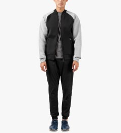 Carhartt WORK IN PROGRESS Black/Grey Heather Two-tone Car-Lux Bomber Jacket Model Picutre