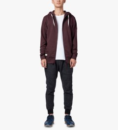 Marshall Artist Burgundy Melange Zip-Through Hoodie Model Picutre