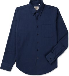 Naked & Famous Navy Soft Herringbone Regular Shirt Picutre