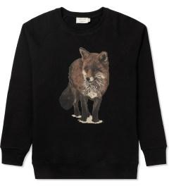 Maison Kitsune Black Walking Fox Print R-neck Sweater Picutre
