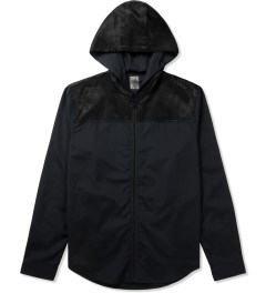 CLOT Dark Navy Silk Panel Hoodie Shirt Picutre