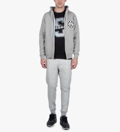 Stussy Heather Grey Checks Stock Zip Hoodie Model Picutre