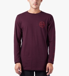 HUF Burgundy Japan Worldwide L/S T-Shirt Model Picutre
