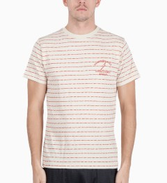 Lightning Bolt Pompeian Red Mirror Thin Stripes Pocket T-Shirt Model Picutre