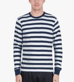 Head Porter Plus Navy Border L/S T-Shirt Model Picutre