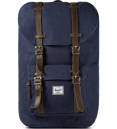 Herschel Supply Co. Indigo Denim/Navy Coated Cotton Canvas Little America Backpack Picutre