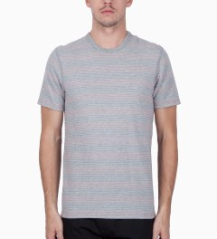 Reigning Champ Multi Stripe RC-1028-6 Knit Stripe Lightweight Terry S/S Crewneck T-Shirt Model Picutre