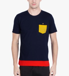 Aloye Aloye x WONG WONG Navy Blue/Red Spain Color Blocked S/S T-Shirt Model Picutre