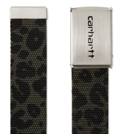 Carhartt WORK IN PROGRESS Panther Print Chrome Clip Belt Model Picutre