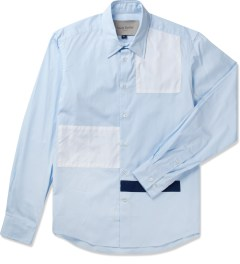 Casely Hayford Pale Blue/White/Navy Stanway Soft Collar Shirt Picutre