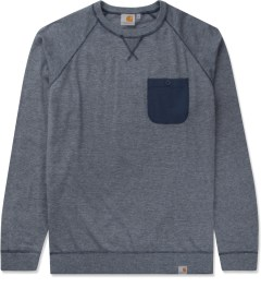 Carhartt WORK IN PROGRESS Grey Heather/Blue Penny Murray Strip Sweater Picutre