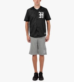 HUF Black Old English Baseball Jersey Model Picutre