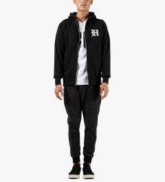 The Hundreds Black Old H Zip Up Hoodie Model Picutre