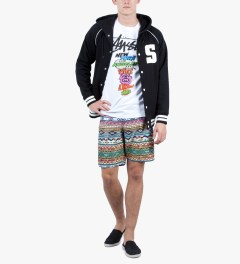 Stussy Black Hooded S Varsity Jacket Model Picutre