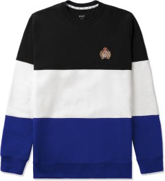 HUF Black/White/Blue Crested Block Crewneck Sweater Picutre