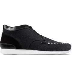 VEJA Dark Black Memory Flannel Shoes Picutre