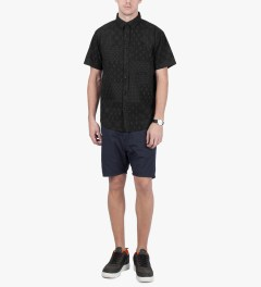 10.Deep Black Bandana Check Button Down S/S Shirt Model Picutre