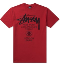 Stussy Brite Red World Tour T-Shirt Picutre